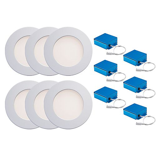 SPEX LIGHTING by Liteline 4-INCH LED WHITE TRIMS CCT SLIM RECESSED FIXTURES (6-PACK)