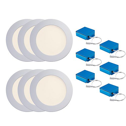 SPEX LIGHTING by Liteline 6-INCH LED WHITE TRIMS CCT SLIM RECESSED FIXTURES (6-PACK)
