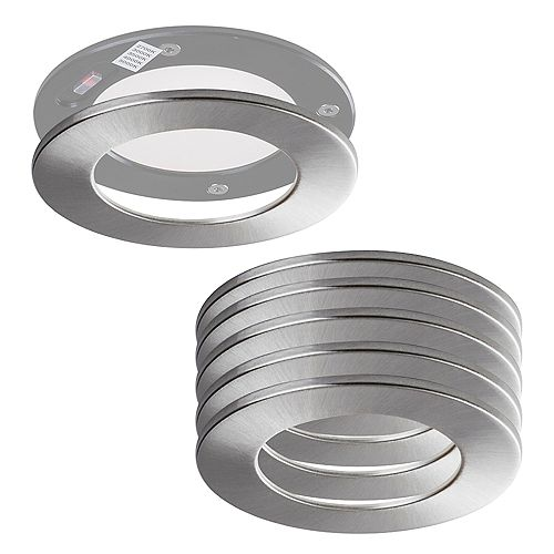 SPEX LIGHTING by Liteline 4-INCH ROUND BRUSHED NICKEL TRIMS FOR SLIM FIXTURES (6-PACK)