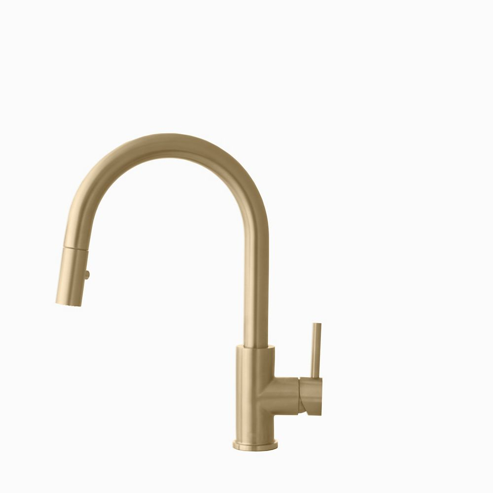 Stylish Modern Single Handle Pull down Sprayer Kitchen Faucet in Gold Stainless Steel