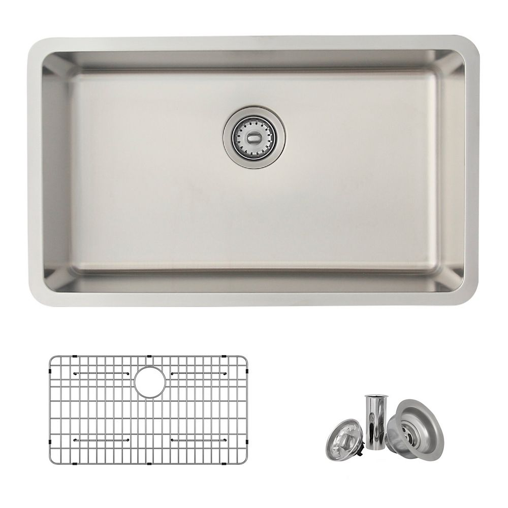 Stylish 29.6L x 18W-inch Dualmount Single Bowl 18 Gauge Stainless Steel Kiitchen Sink with Grid and Strainer
