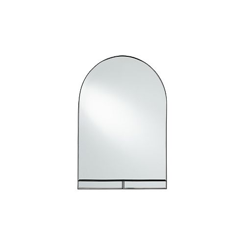 Perry 24-inch W x 36-inch H Metal Decorative Mirror with Shelf in Matte Black