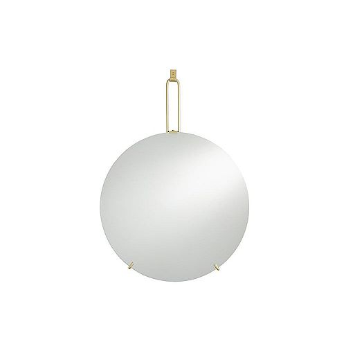 Cole 24-inch W x 24-inch H Frameless Round Mirror with Brushed Brass Metal Hanging Hook