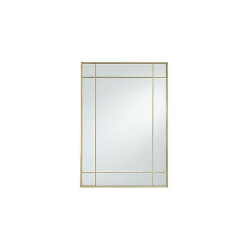Burke 21-inch W x 30-inch H Metal Window Pane Mirror in Brushed Brass