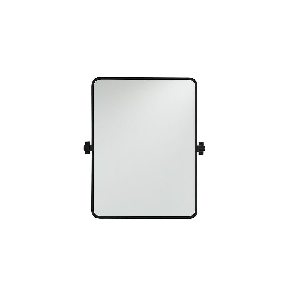 GlucksteinElements Westbury 21-inch W x 30-inch H Metal Pivot Mirror in Matte Black