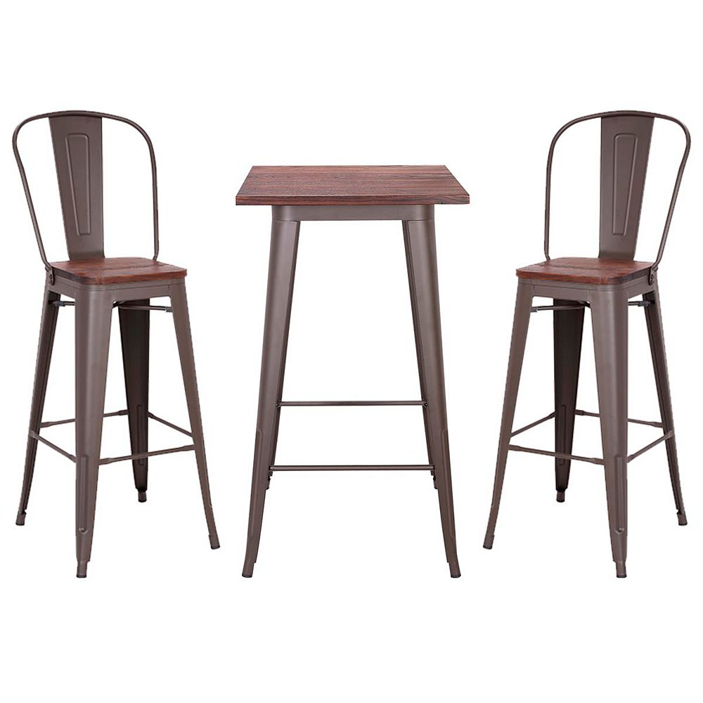 "Bronte Living 3 piece Bar Set Table 23""X23"" with Wooden Tabletop and two 30"" Bar Stools Axent - Espresso Legs"