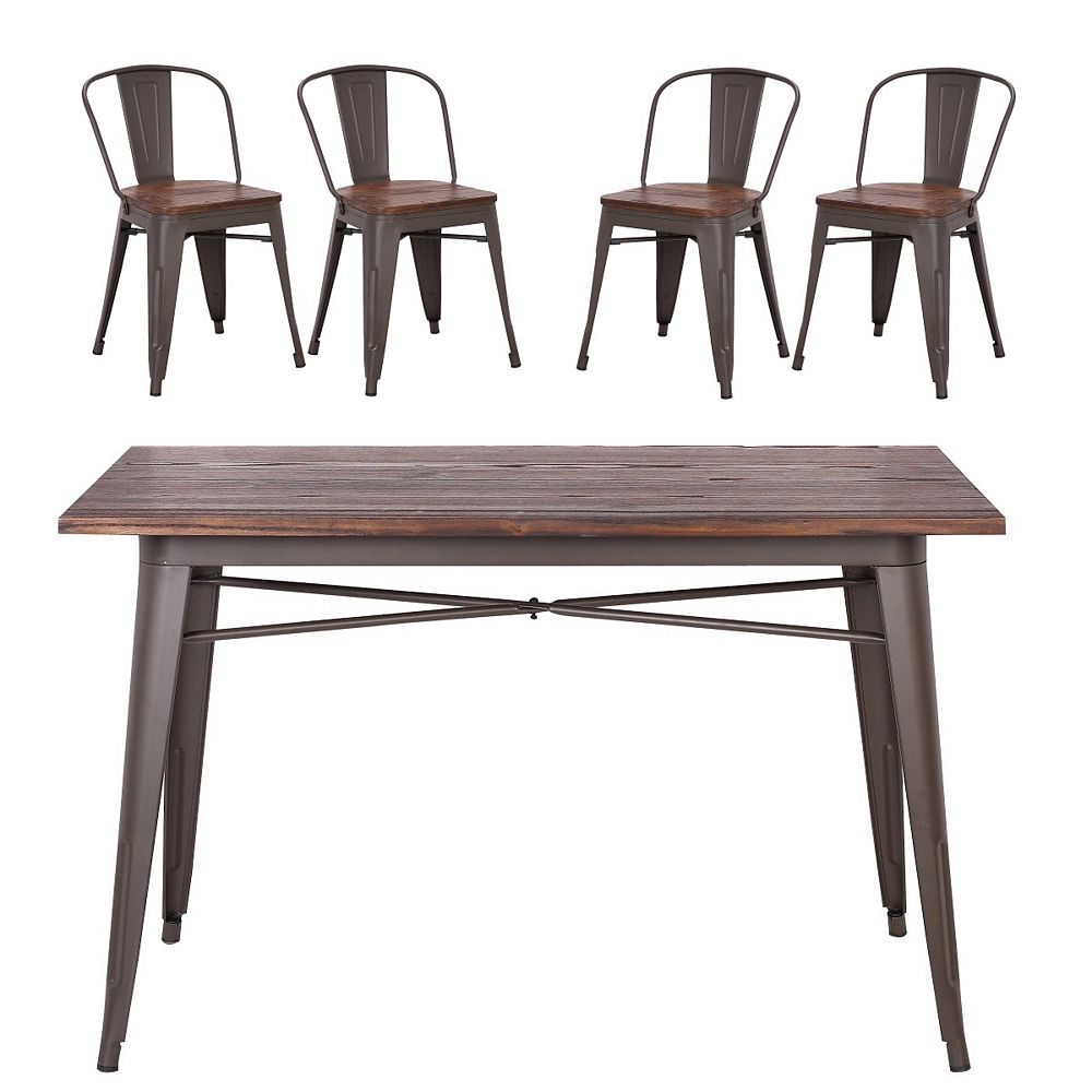 """Bronte Living 5 piece Rectangular Dining Set 47""""X23"""" with wooden tabletop and 4 chairs series Burton Espresso Legs"""