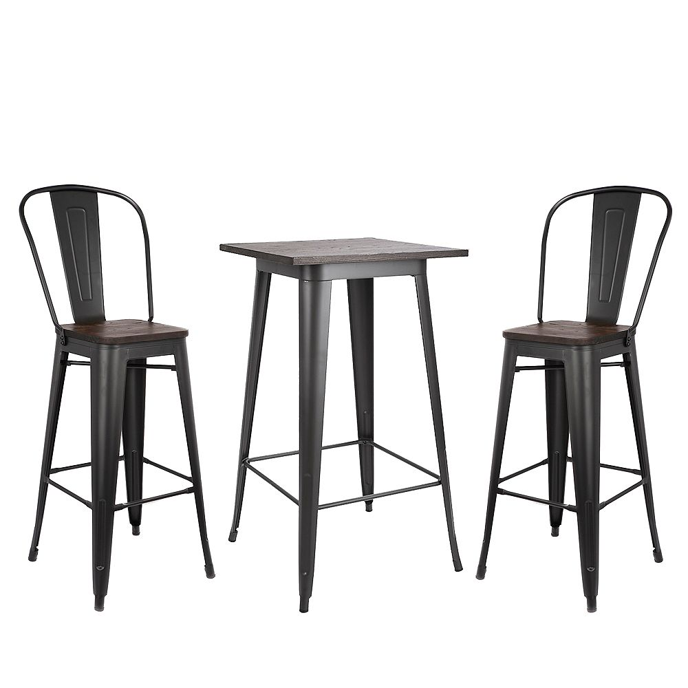 """Bronte Living 3 piece Bar Set Table 23""""X23"""" with Wooden Tabletop and two 30"""" Bar Stools Axent - Matte Black Legs"""