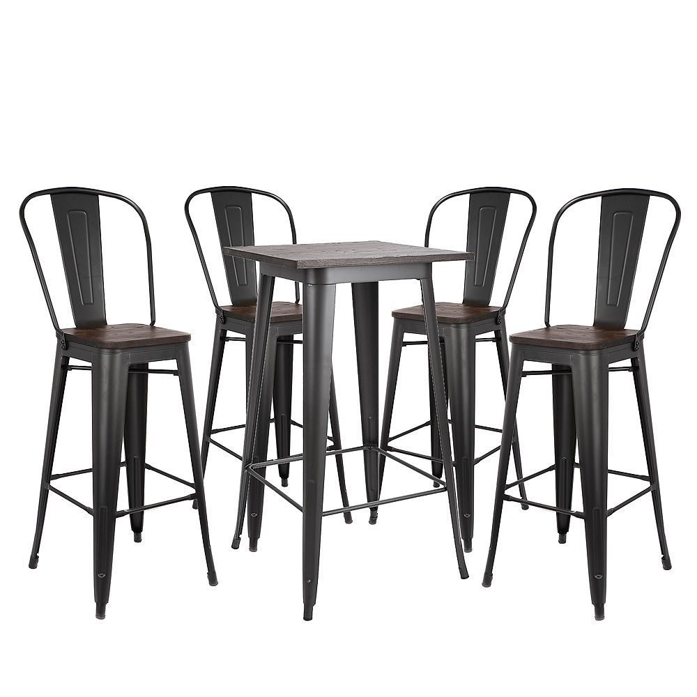 """Bronte Living 5 piece Bar Set Table 23""""X23"""" with Wooden Tabletop and two 30"""" Bar Stools Axent - Matte Black Legs"""