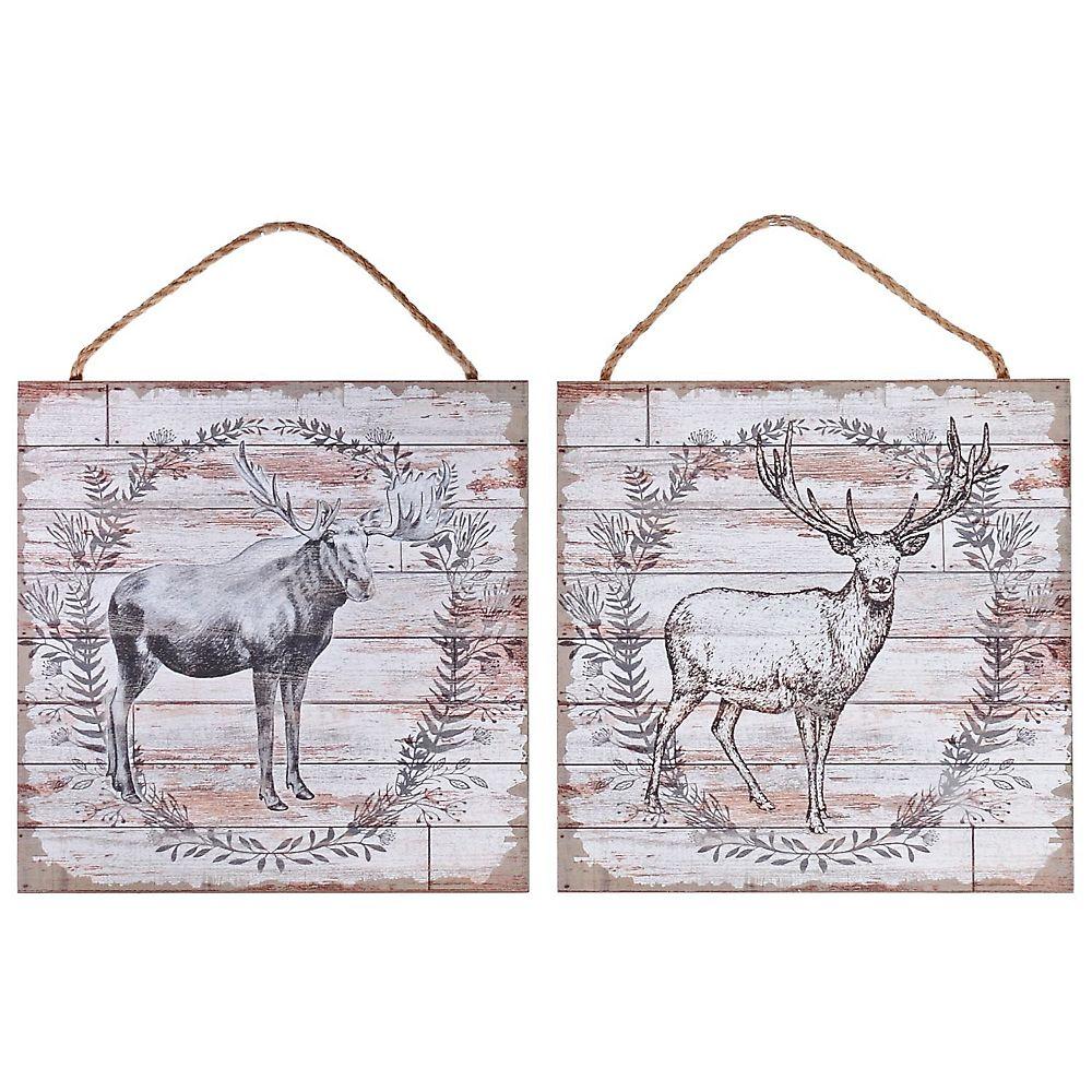 IH Casa Decor Wood Wall Art (Deer/Moose Wreath) (12 X 12) (Asstd)-Set of 2