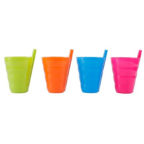 10 OZ Reusable Plastic Cups with Straw Blue, Pink, Green, and Orange, Set of 4
