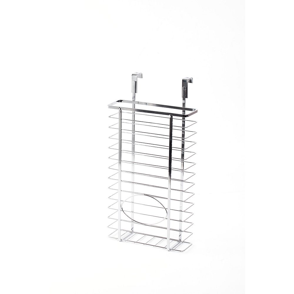 Basicwise Over Cabinet Metal Plastic Bag and Grocery Bag Storage Holder, Chrome
