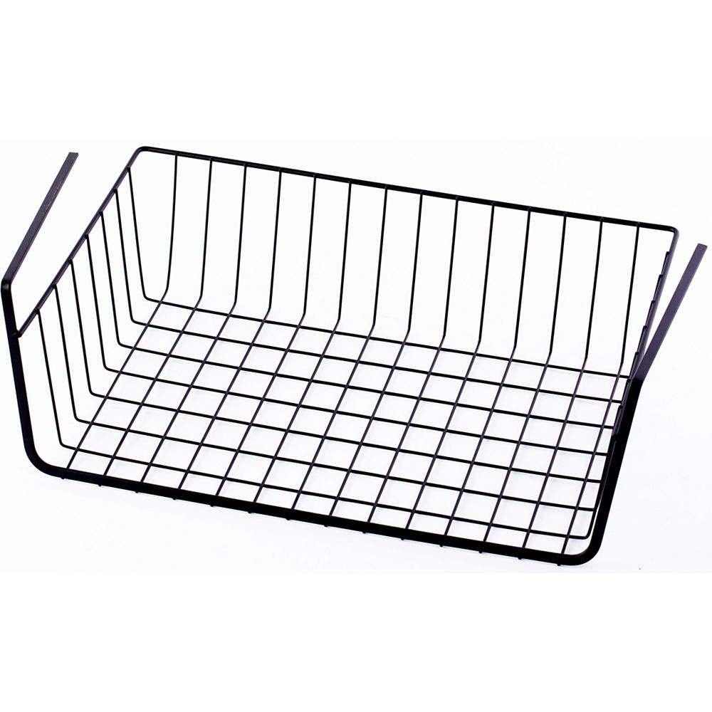 Basicwise Hanging Under Shelf Metal Storage Basket, Set of 2