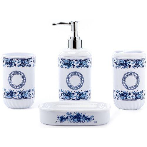 4 Salle d'eau Set - Distributeur de savon, Porte-brosse à dents, Tumbler et porte-savon, blanc