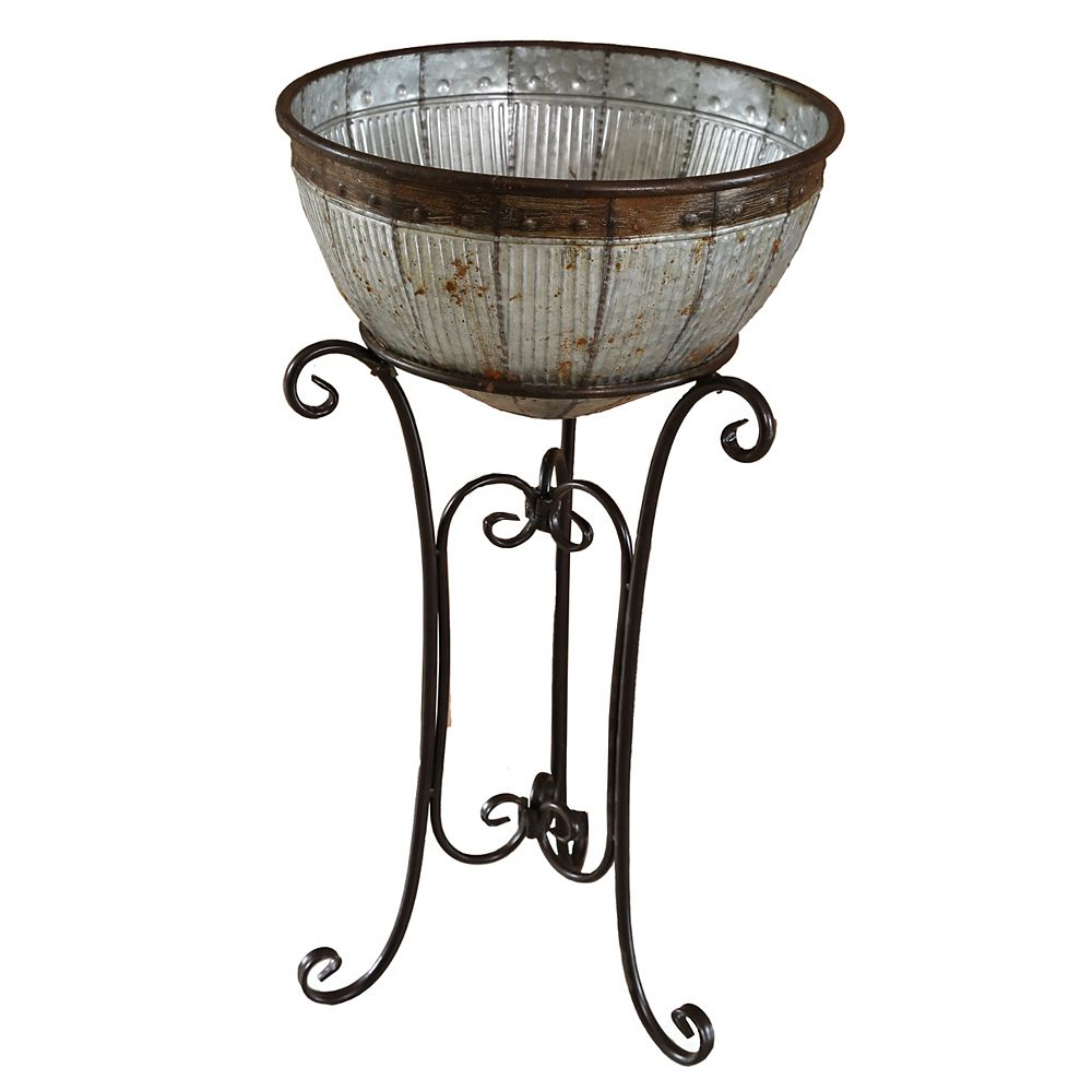 Vintiquewise Galvanized Metal Beverage Cooler Tub with Stand