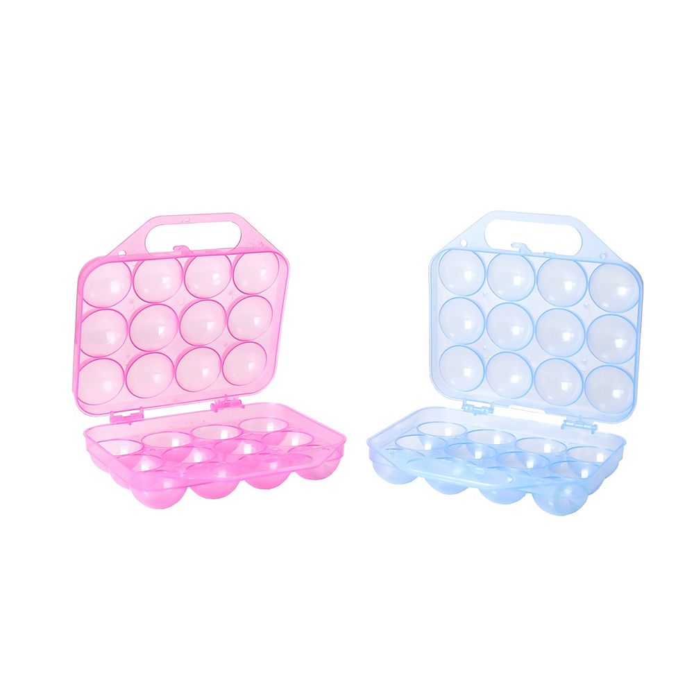 Basicwise Clear Plastic Egg Carton, 12 Egg Holder Carrying Case with Handle, Set of 2