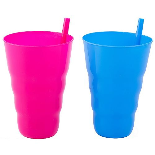 Basicwise 20 OZ Reusable Plastic Cups with Straw Blue and Pink, Set of 2