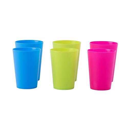 Plastic Reusable Cups 7 OZ Set of 6 (2 Pink, 2 Green, 2 Blue)