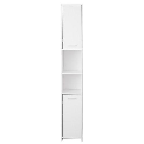Standing Bathroom Linen Tower Storage Cabinet, White