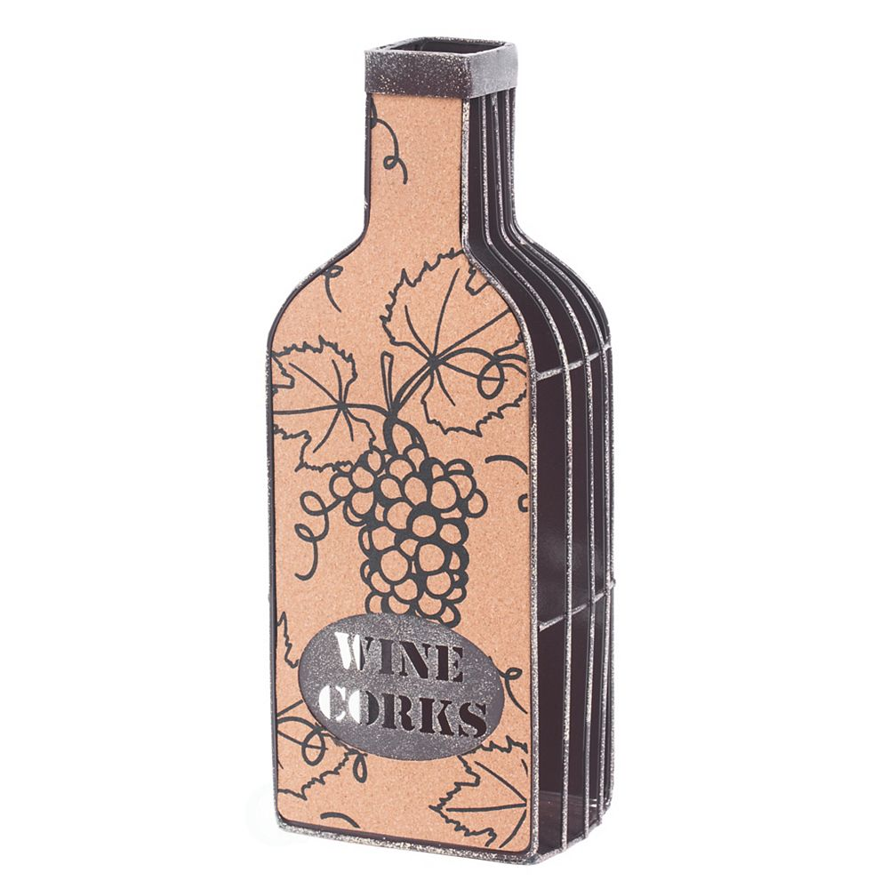 Vintiquewise Vintage Metal Bottle Shaped Wine Cork Holder