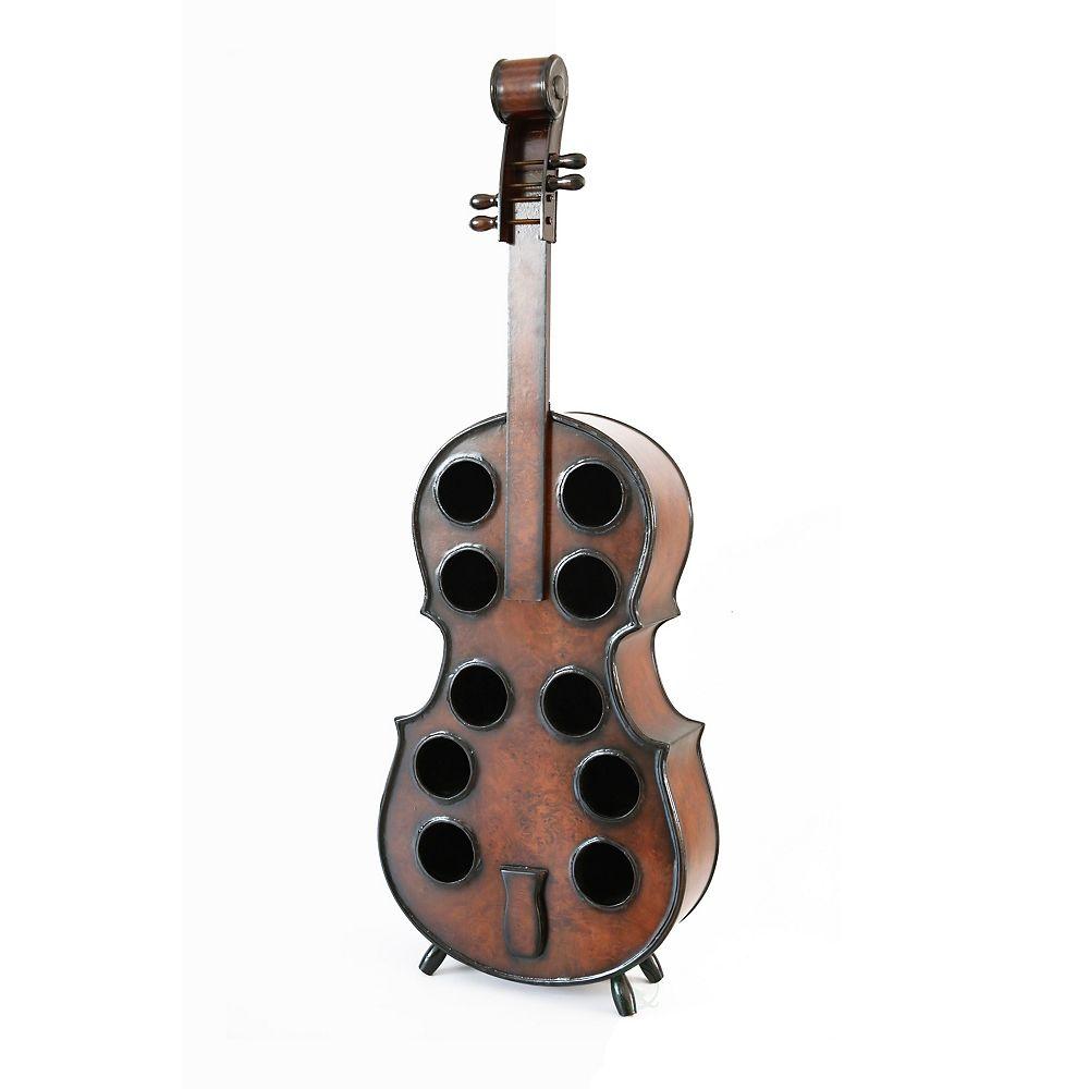 Vintiquewise Decorative 10 Bottle Wooden Cello Shaped Wine Rack 53 inch Floor Violin