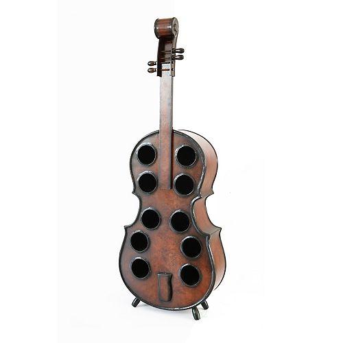 """Décoratif 10 Bouteille en bois Violoncelle Shaped Wine Rack 53"""" pouces sol pour violon"""