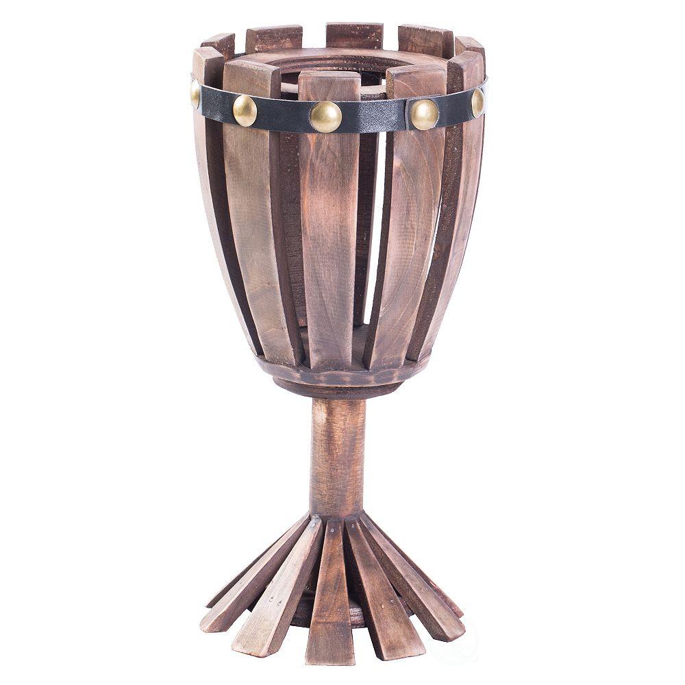 Vintiquewise Wooden Wine Goblet Shaped Vintage Decorative Single Bottle Wine Holder