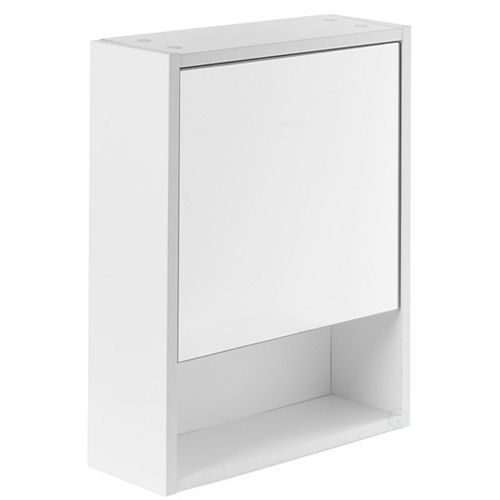 Basicwise White Wall Mounted Bathroom Storage Cabinet, Mirrored Vanity Medicine Chest with 3 Shelves