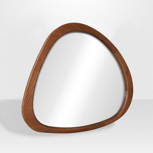 "The Tangerine Mirror Company DELUCA,  Assymetrical  Mid-Century Decorative Wood Mirror, Maple 32"" x 35"""