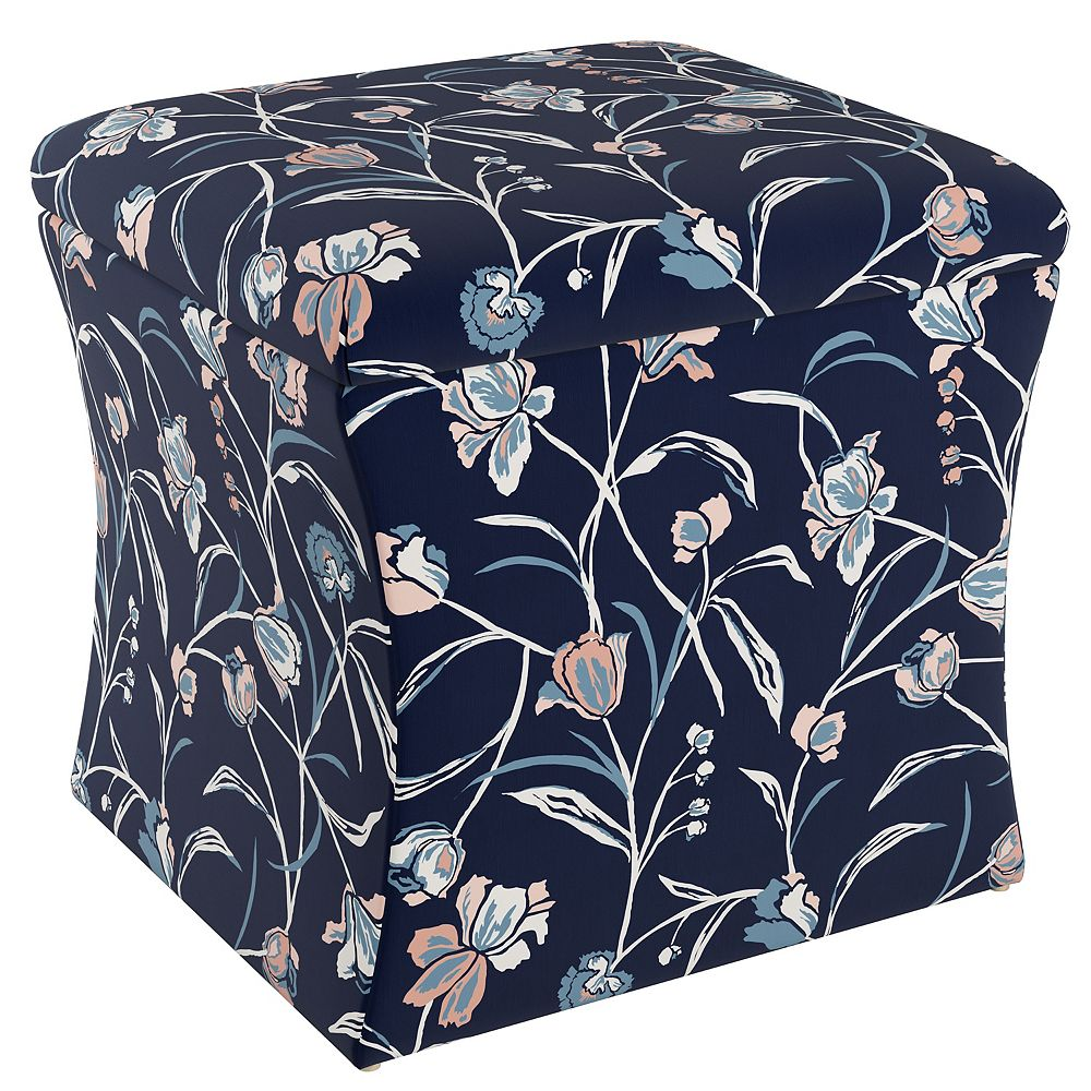 Skyline Furniture Greer Storage Ottoman in Whisp Floral Navy Blush