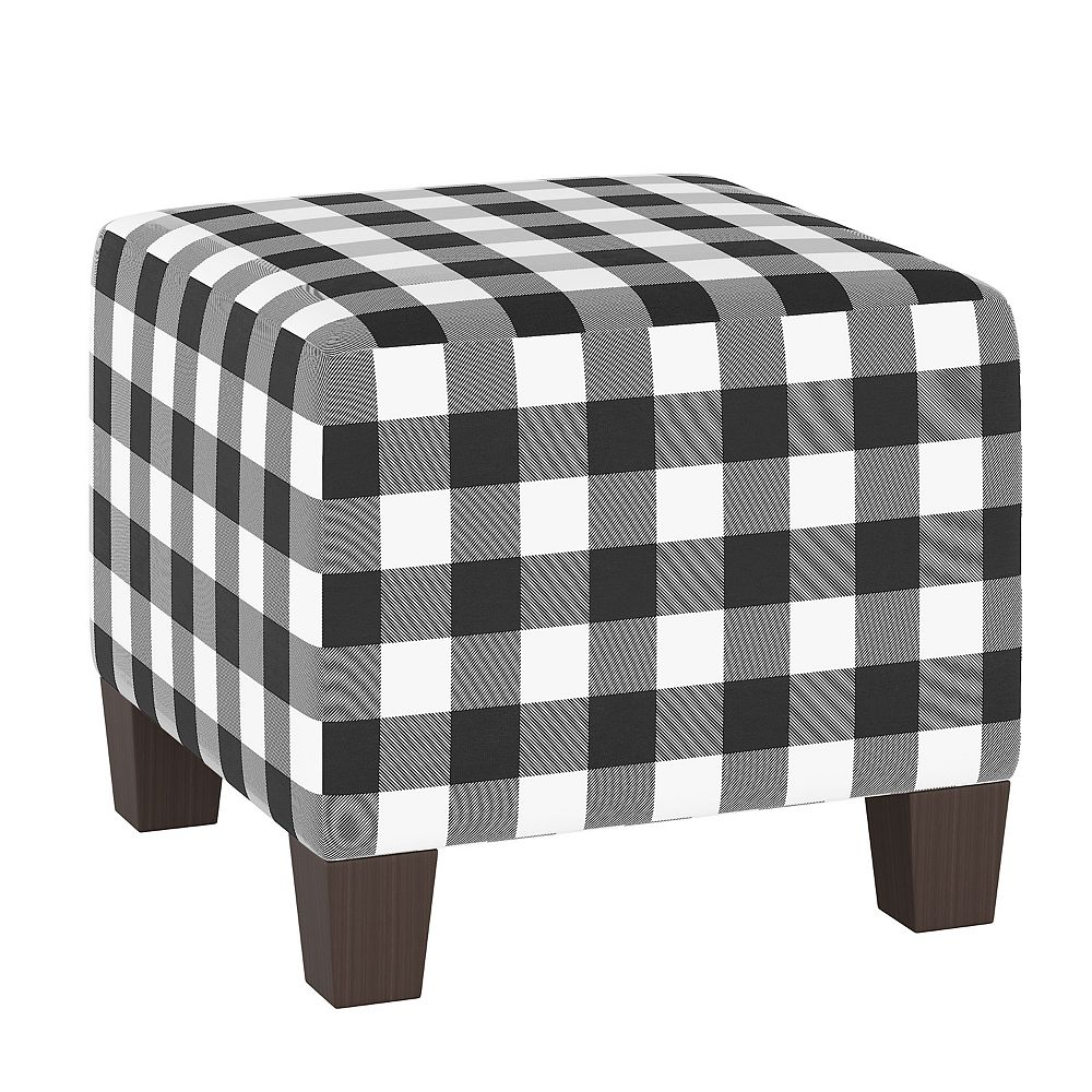 Skyline Furniture Wright Ottoman in Classic Gingham Black