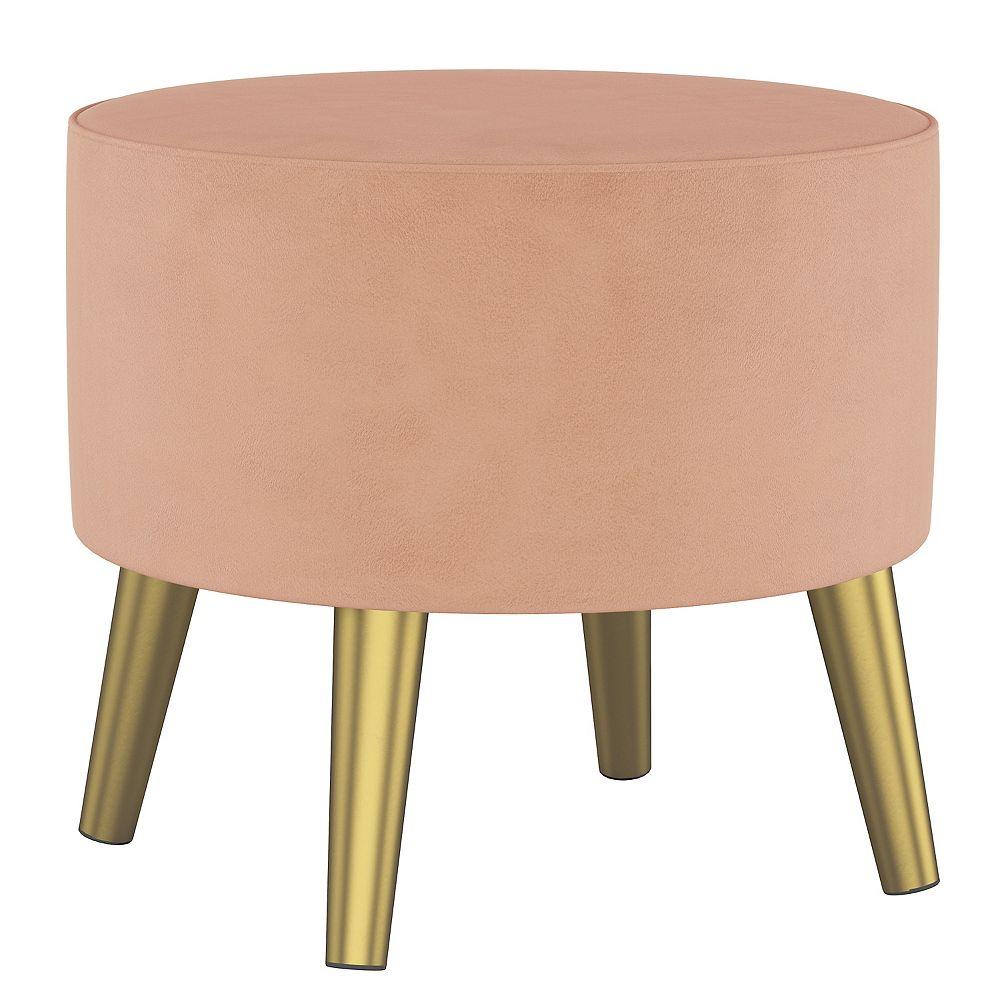 Skyline Furniture Collin Ottomanin Velvet Soft Pink with Brass Legs