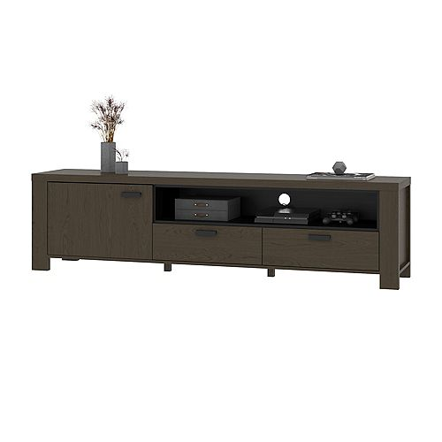 Perse 76W TV Stand in smoky grey