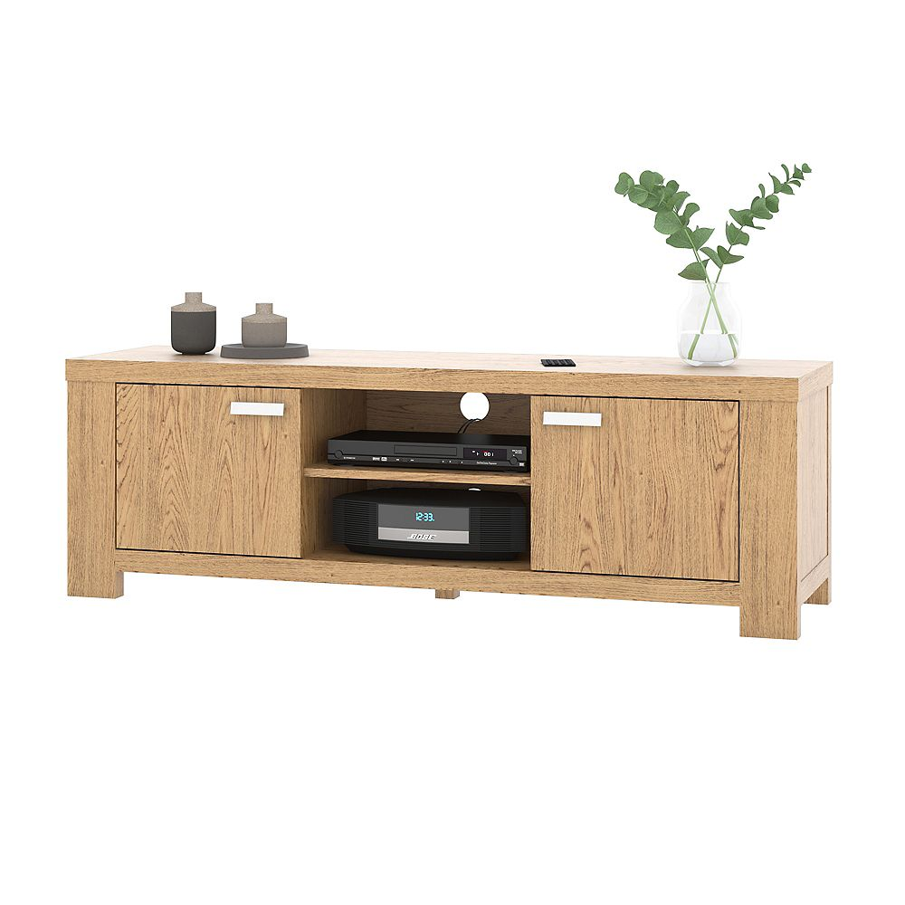 Bestar Naos 55W TV Stand in golden oak