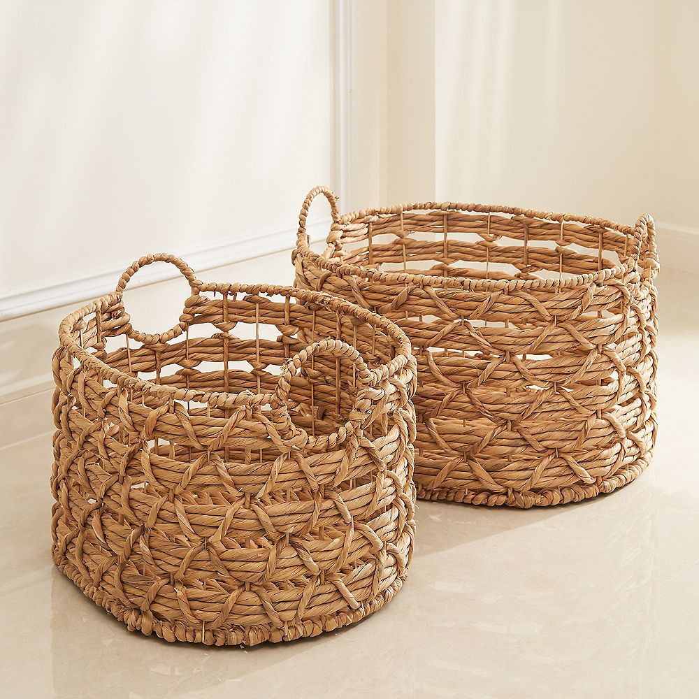 Vifah Camila 2-piece Assorted Stackable Oval Hand-woven Water Hyacinth Storage & Laundry Basket Set