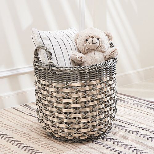 Valeria 18-Inch Round Resin Plant Pot and Laundry Basket with Handles- Size L