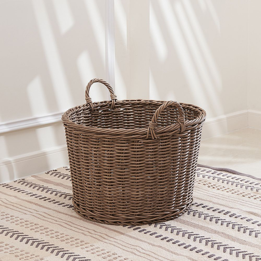 Vifah Mila 19-Inch Round Resin Storage and Organizing Basket with Handles- Size L