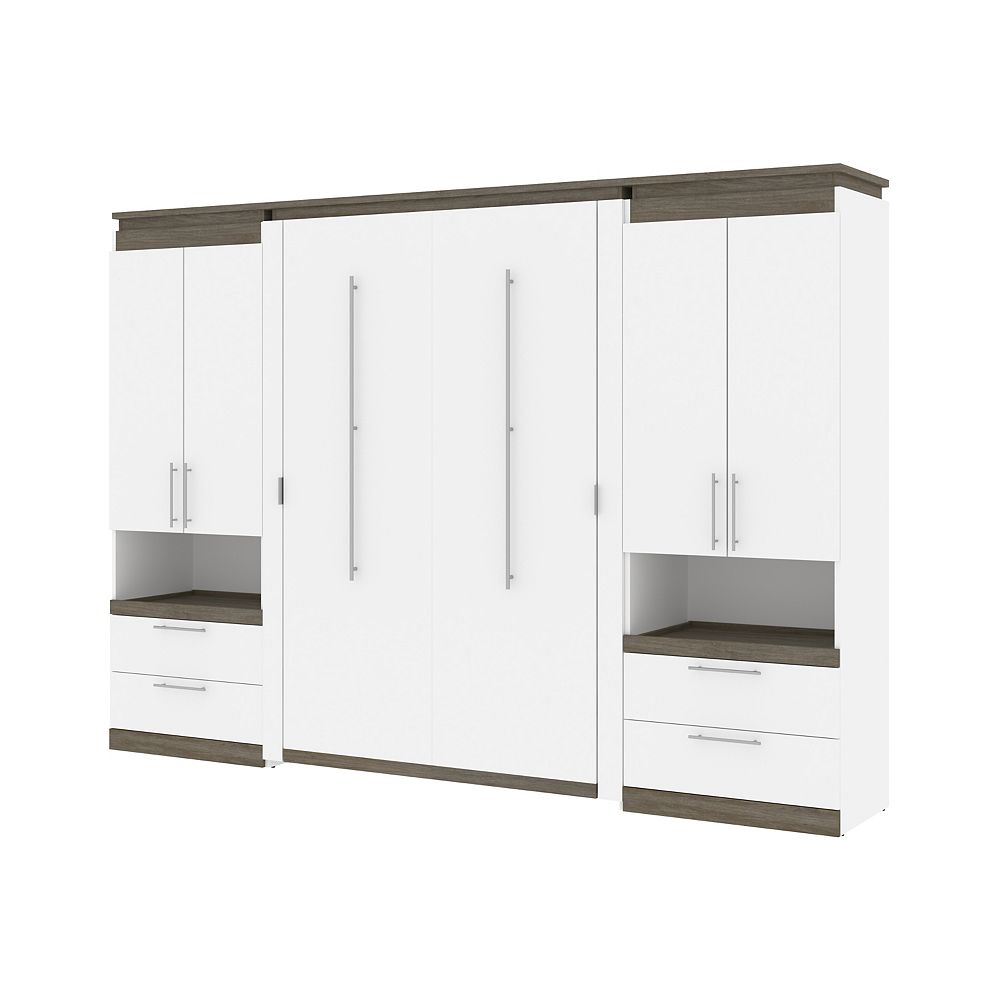 Bestar Orion 118W Full Murphy Bed and 2 Storage Cabinets in white & walnut grey
