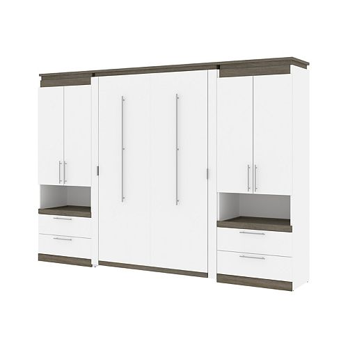 Orion 118W Full Murphy Bed and 2 Storage Cabinets in white & walnut grey