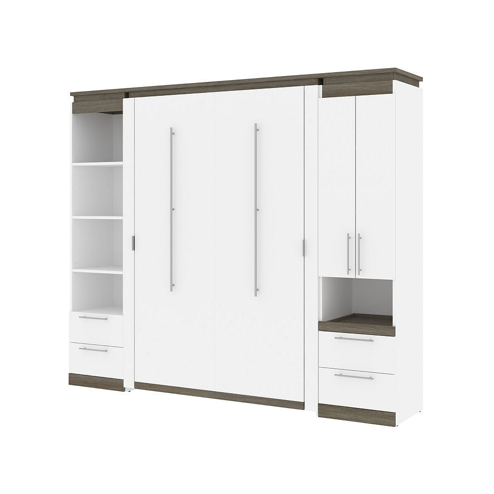 Bestar Orion 98W Full Murphy Bed and Narrow Storage Solutions in white & walnut grey