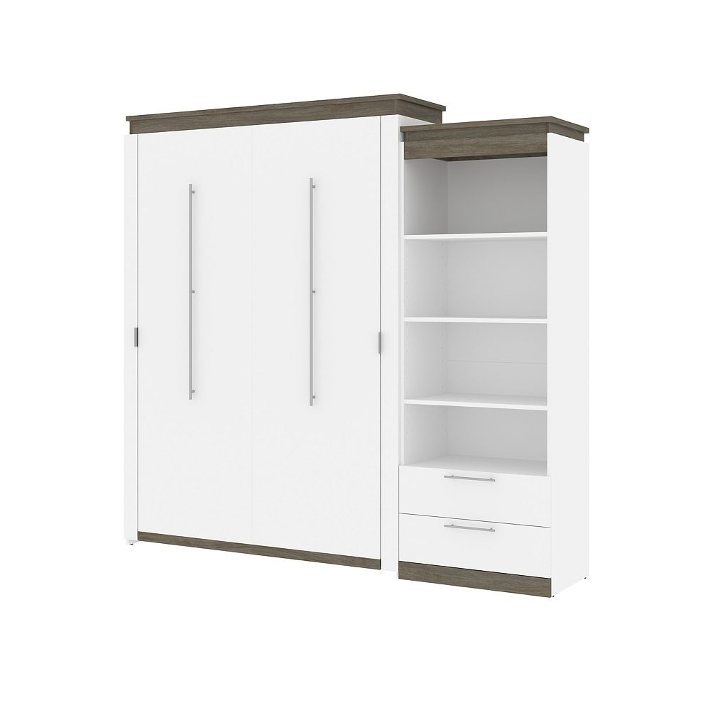 Bestar Orion Queen Murphy Bed and Shelving Unit in white & walnut grey