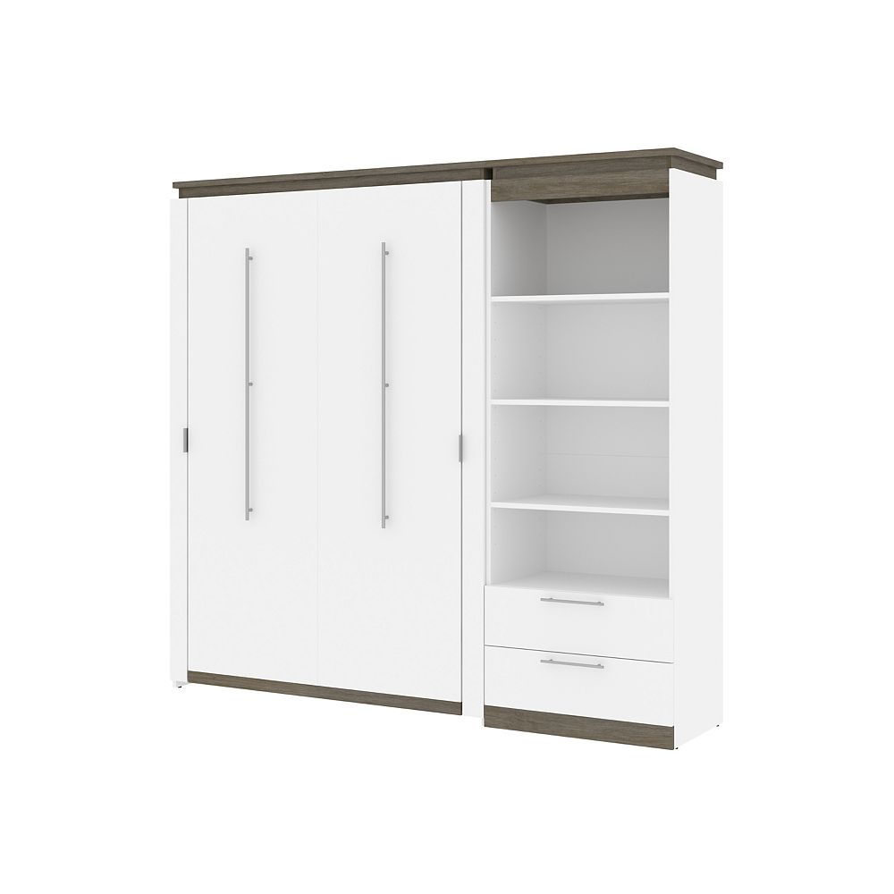 Bestar Orion 89W Full Murphy Bed and Shelving Unit in white & walnut grey