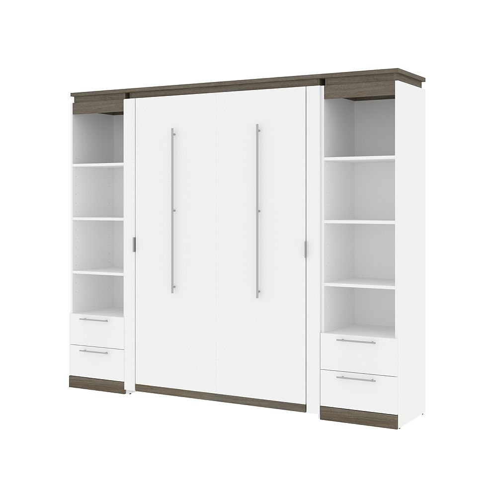 Bestar Orion 98W Full Murphy Bed and 2 Narrow Shelving Units in white & walnut grey
