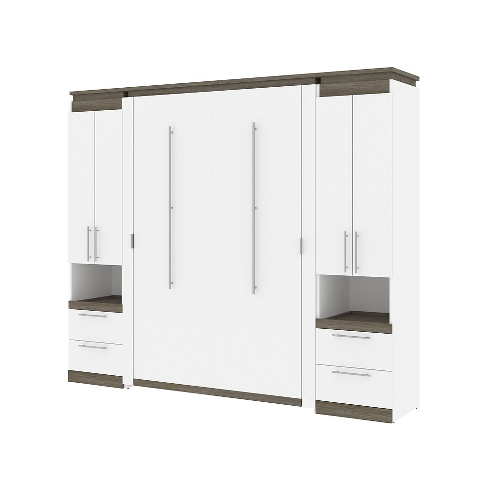 Bestar Orion 98W Full Murphy Bed and 2 Storage Cabinets in white & walnut grey