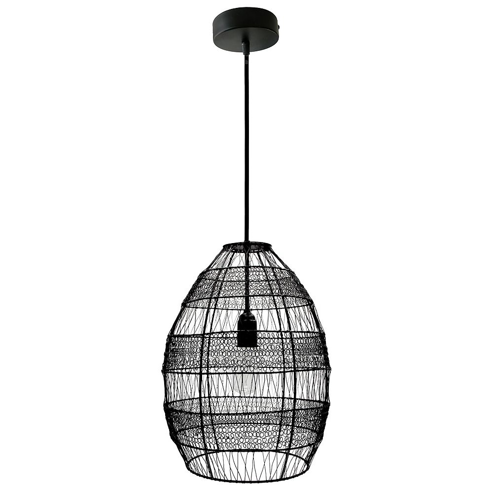 River of Goods 1-Light Black Pendant with Oversized Woven Shade