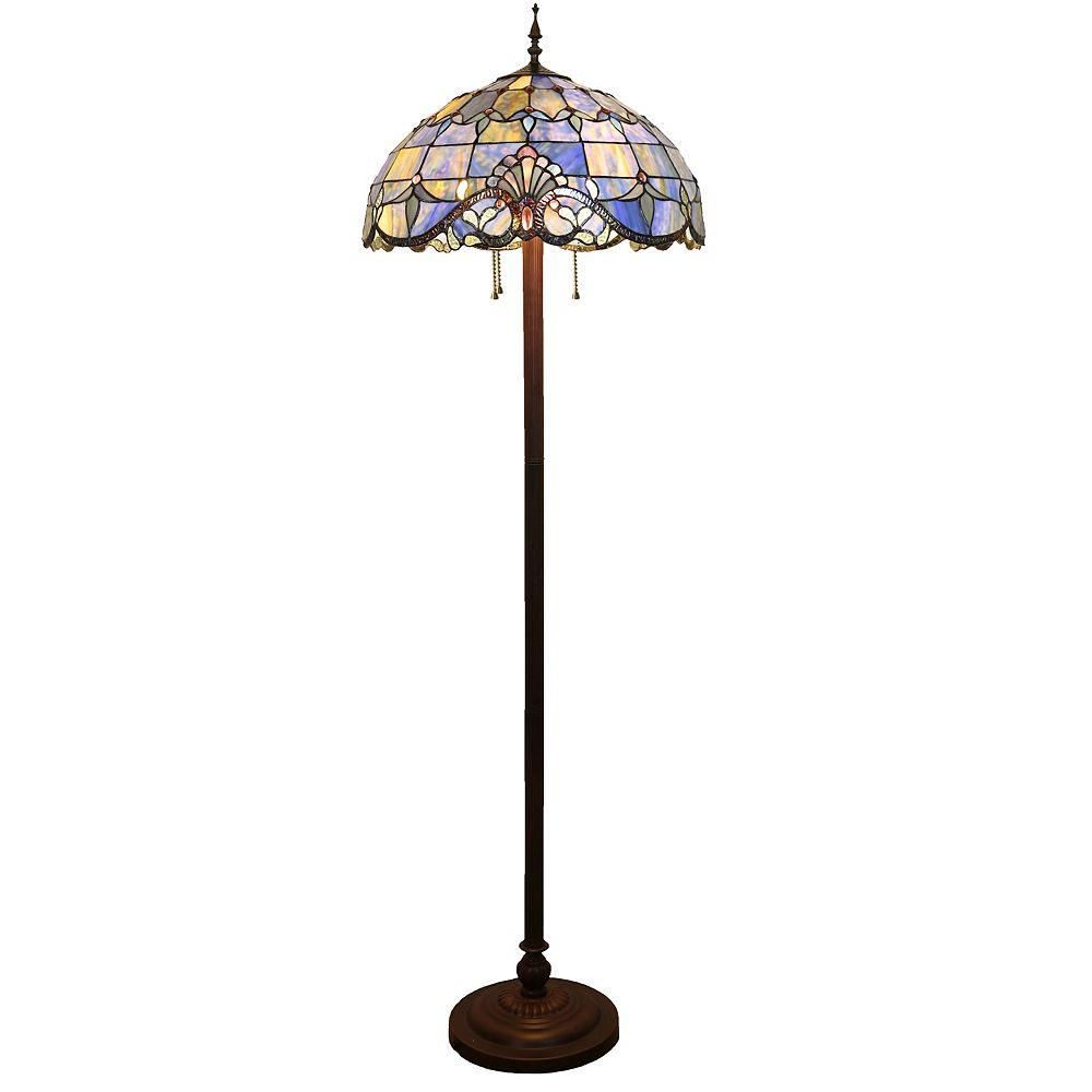 River of Goods 64 in. Blue Indoor Floor Lamp with Stained Glass Allistar Shade