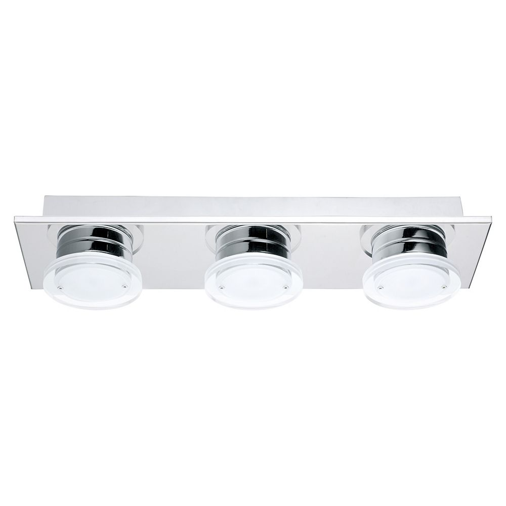 Eglo Cisterno 3-Lights 13.5W Chrome with Satin and Clear Acrylic Shade LED Flushmount