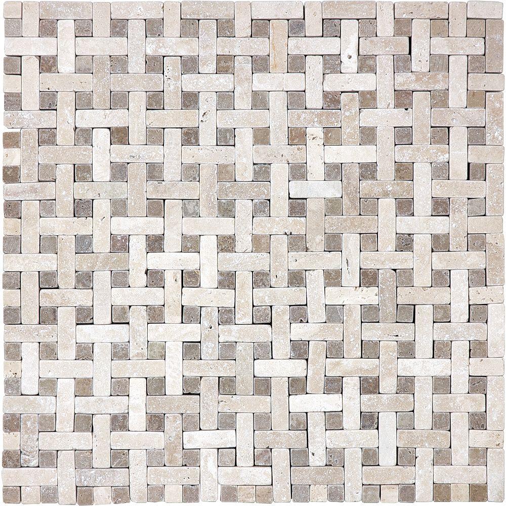 Ave Six Noce Ivory 3/8-inch Basket Weave Travertine Mosaics ( 8.80 sq. ft. / case)
