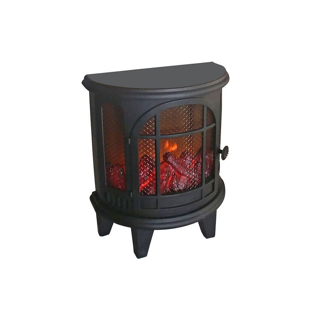 IH Casa Decor Halfmoon Fireplace With Usb Led Logs On Fire (Black)
