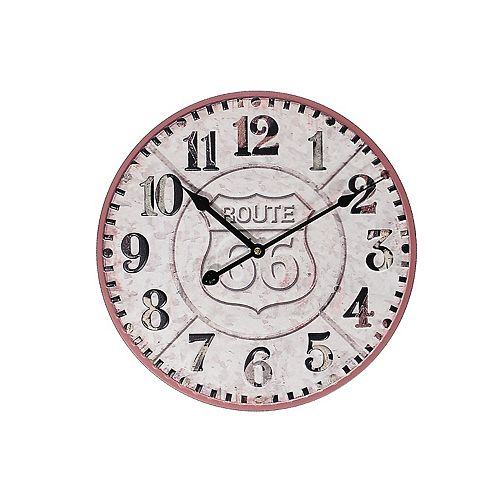 """Round Metal Wall Clock (Embossed Route 66) (14"""" Dia)"""